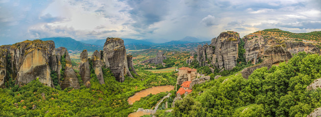 Wall Mural - Landscape with monasteries and rock formations in Meteora, Greece