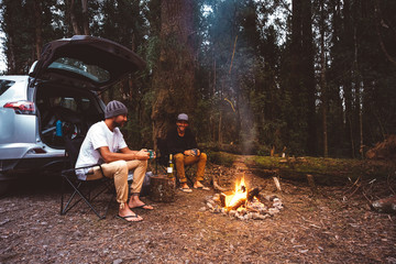 Friends having drinks while sitting on camping chairs by campfire in forest