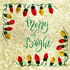 Glitter Gouache Painted Christmas Holiday Merry & Bright Tree Light Strands in Red, Green, Gold