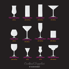 Vector cocktails glasses with names