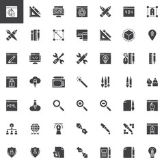 Designer tools vector icons set, modern solid symbol collection, filled style pictogram pack. Signs, logo illustration. Set includes icons as Web design, Crop, 3d, Eyedropper Transformation, Computer