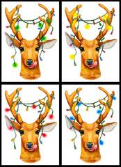 Christmas deer with garland gif - set