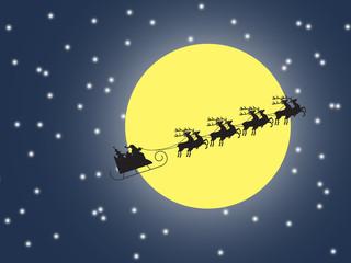 silhouette Santa Claus sleigh. Moon sky background