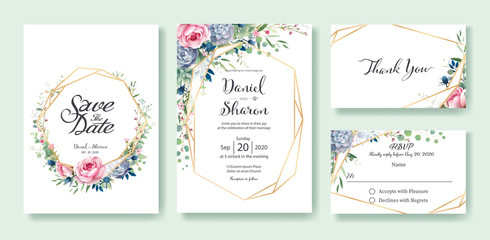 Wedding Invitation, save the date, thank you, RSVP card Design template. Queen of Sweden rose flower, leaves, succulent plant, Anemone plants. vector.
