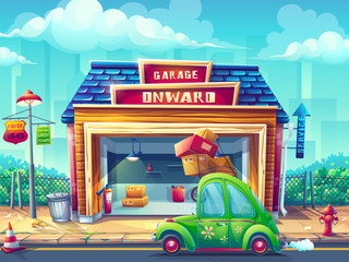 Vector cartoon illustration garage with the vehicle