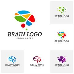 Set of Brain Logo Vector Template. Brain Logo Concepts