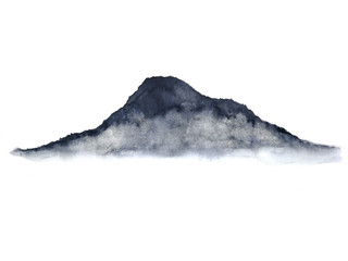 watercolor ink landscape chinese mountain fog . Traditional oriental. asia art style.isolated on a white background