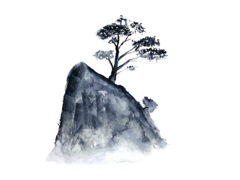 watercolor ink landscape tree chinese mountain fog . Traditional oriental. asia art style.isolated on a white background