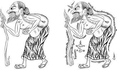 Thai tradition painting,Thai tattoo, vector
