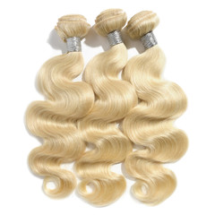 Body wavy bleached blonde human hair weaves extensions bundles