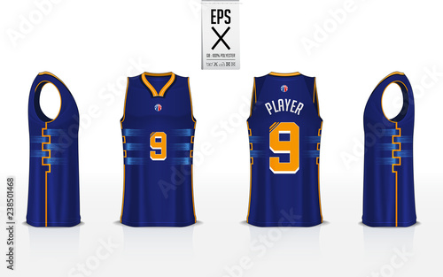 8d7fb9ab6b989b Basketball uniform template design for basketball club. Tank top t-shirt  mockup for basketball