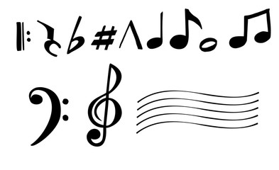 Music note design element. Music notes vector icon illustration isolated on white background