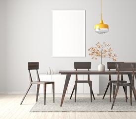 Modern dining room with poster frame mock up. 3d illustration