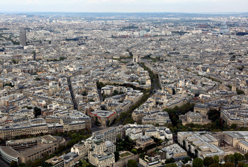metropolis of Paris in France from the top of the Eiffel Tower