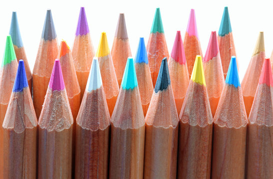 colorful wooden pencils used by children during the drawing less