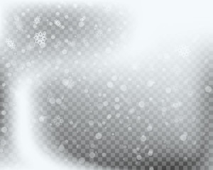 Winter Falling Snowflakes Isolated on Transparent Background for Christmas and Snow Design. Vector illustration.