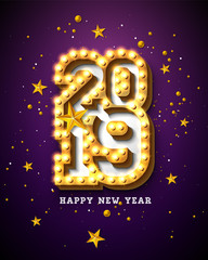 2019 Happy New Year illustration with 3d light bulb typography lettering and gold star on purple background. Holiday design with shiny bright lights for flyer, greeting card, banner, celebration