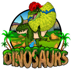 Logo  Dinosaurs World with Dilophosaurus. Vector illustration.