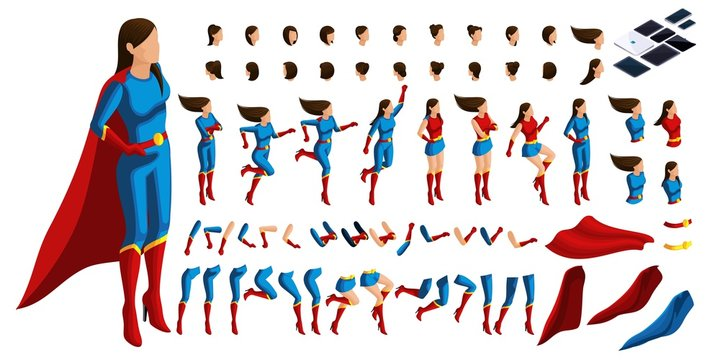 Isometric Set of gestures of hands and feet of a woman 3D superhero, girl on guard of order. Create your character for vector illustrations