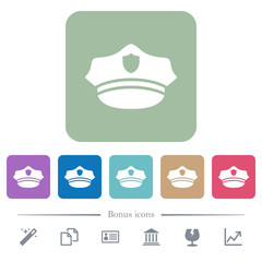Police hat flat icons on color rounded square backgrounds