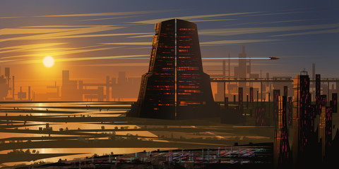 Future City. Fiction Backdrop. Concept Art. Realistic Illustration. Video Game Digital CG Artwork. Nature Scenery.