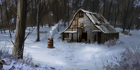 Small Cottage, House in the Winter Forest. Fiction Backdrop. Concept Art. Realistic Illustration. Video Game Digital CG Artwork. Nature Scenery.
