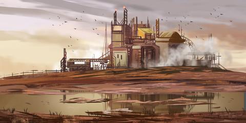 Abandoned Factory. Abandoned Mine Pit. Fiction Backdrop. Concept Art. Realistic Illustration. Video Game Digital CG Artwork. Nature Scenery.