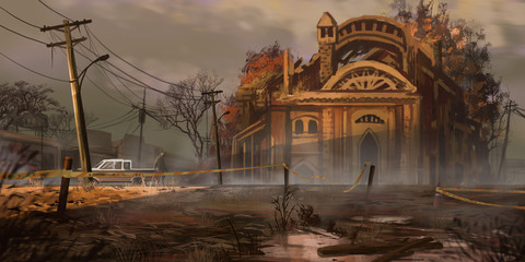 Wasteland Street Buildings. Fiction Backdrop. Concept Art. Realistic Illustration. Video Game Digital CG Artwork. Nature Scenery.