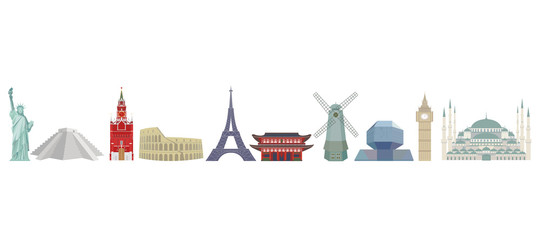 Set of color detailed vector icons of world architectural landmarks. Isolated silhouettes on white background.