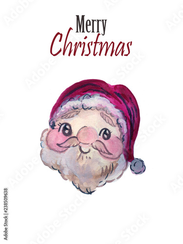 9d9c44811c227 Watercolor Santa Claus red hat Hand painted christmas illustration isolated  on white background