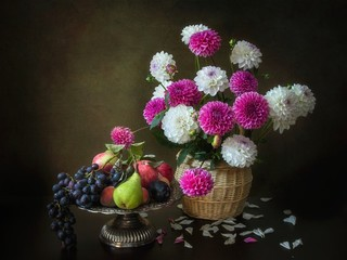 Still life with beautiful bouquet of dahlia flowers