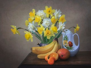 Still life with beautiful bouquet of daffodils