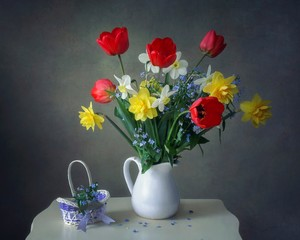 Still life with beautiful bouquet of garden spring flowers