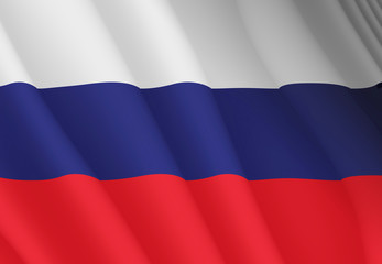 Illustration of a flying Russian flag