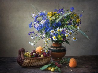 Still life with beautiful bouquet of wild flowers
