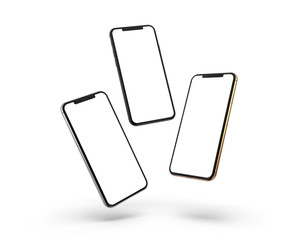 Gold, silver and black smartphones with blank screen, isolated on white background.