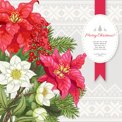 Vector card. Poinsettia flowers, berries, hellebore and fir-tree. Scandinavian ornament on backdrop. Christmas collection. Place for your text.