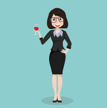 business girl suit with glass of wine
