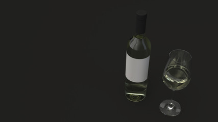 Bottle of white wine and a glass