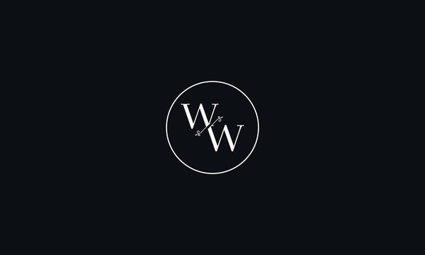 LETTER W AND W FLOWER LOGO WITH CIRCLE FRAME FOR LOGO DESIGN OR ILLUSTRATION USE