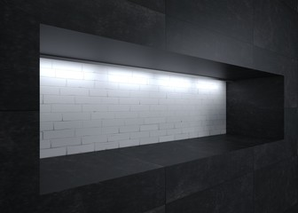 Decorative niche showcase with lights
