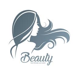 womans hair style stylized sillhouette, beauty salon logo template