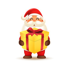 Santa Claus carrying gift box. Merry Christmas and Happy New Year! Holiday greeting card. Isolated vector illustration
