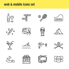 Vector illustration of 16 entertainment icons line style. Editable set of crossword, tv, playing cards and other icon elements.