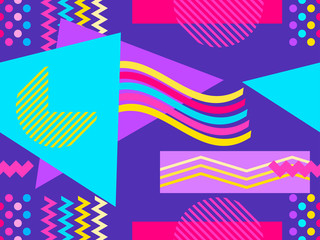 Memphis seamless pattern. Geometric elements memphis in the style of 80s and 90s. Vector illustration