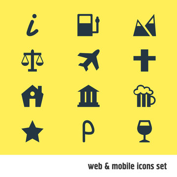 Vector illustration of 12 check-in icons. Editable set of academy, legend, parking sign and other icon elements.
