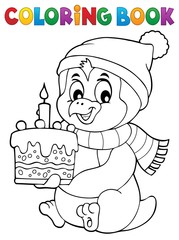 Poster Voor kinderen Coloring book penguin with cake theme 1