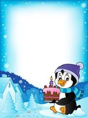 Penguin holding cake theme frame 1