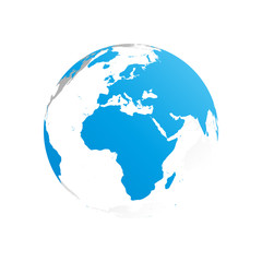 3D planet Earth globe. Transparent sphere with blue land silhouettes. Focused on Africa and Europe.