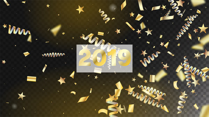 2019 New Year Confetti Realistic Falling Golden Tinsel.  Cool Rich VIP Christmas, New Year, Birthday Party Holiday Garland. Horizontal Mystical Shapes Background. New Year Confetti Golden Tinsel